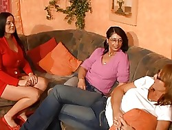 3 sweltering german moms having joke all over a dildo
