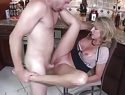 Whore-mom beside heavy pair & tramp