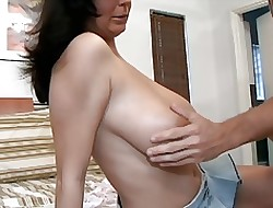 2 Bosomy Landed gentry Tittyfucked & Facialed