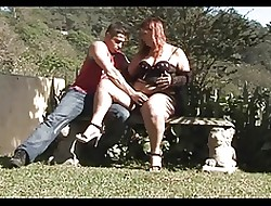 Redhead BBW-Milf to Outdoors-DP off out of one's mind young Guys