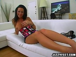 Jayden Jaymes gives a footjob