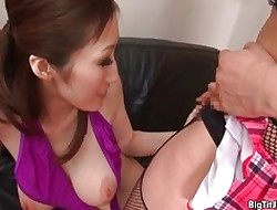 Titillating asian battle-axe gets horn-mad sucking