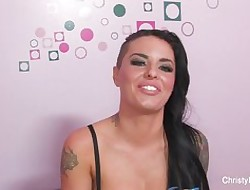 Tattooed Christy gets interviewed & fucked
