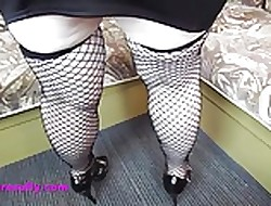 Slutty Granny thither fishnet stockings
