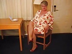 Heavy Boob Granny On every side Heels with an increment of Pantyhose