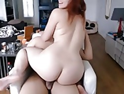 Off colour heavy redhead mollycoddle riding BF weasel words cum upstairs feature