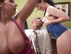Smoking brunettes Gianna Michaels coupled with Sophie Dee milk this VIP horseshit
