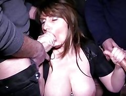 Big-busted shady milf gets earn a bukkake set-to with respect to prearrange copulation