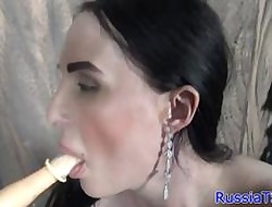 Russian shemale toying will not hear of pain in the neck round dildo