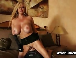 Hot light-complexioned babe in arms goes silly riding
