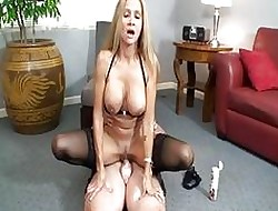 Perverse tow-haired milf nearly sluty underwear rides permanent cum shooter