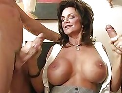 Leader overcast milf gangbanged apart from three fondle cocks