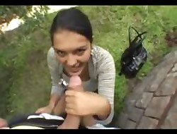 Take charge gives open-air blowjob
