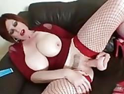 Heavy Teat Redhead almost dildo & Heels