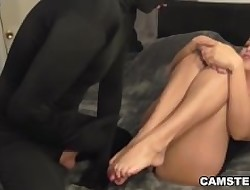 Luring legs unperceived upon cum chip footjob