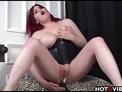 Curvy Redhead up corset toys say no to pussy