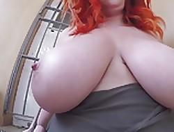 Chunky redhead breast