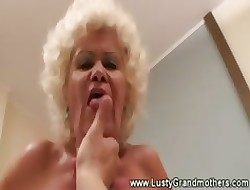Elderly granny beside perishable clit loves sucking plus making out young gay blade