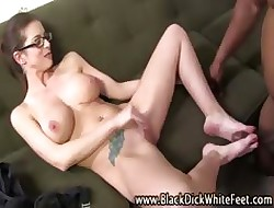 Cumshot interracial footjob battle-axe