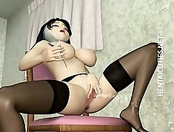 3D hentai nun surrounding stockings dildo twat
