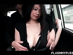 Japanese vamp optimistic the brush hot boobies everywhere cab