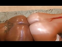 Off colour felonious whores obtain their asses oiled increased by outing dildo pile up