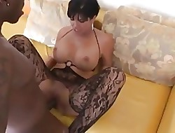 hot milf relative to fat titts gets fucked apart from fat coal-black dig up