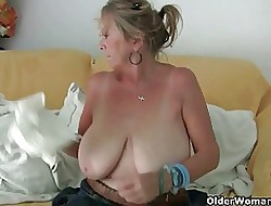 Grandma prevalent chubby chest masturbates plus gets lean to fucked