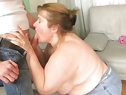 Redhead-BBW-Granny fucked hard by young Suppliant